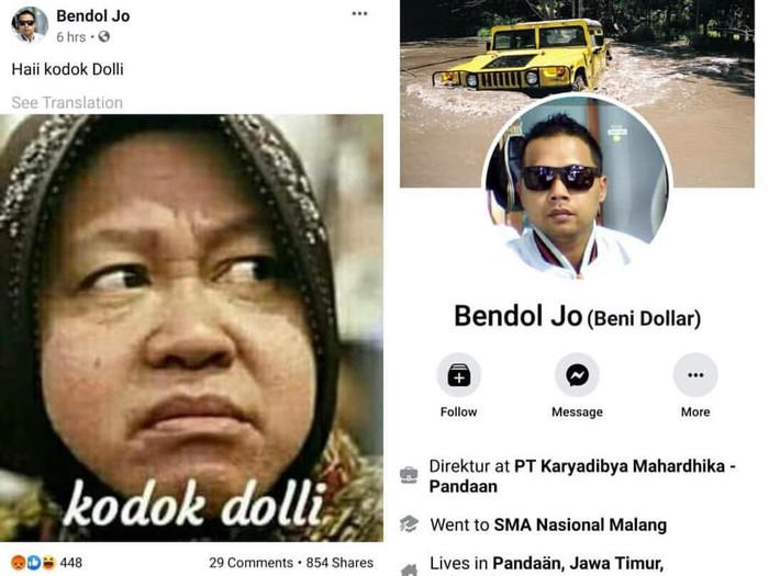 Wali Kota Surabaya Tri Rismaharini kembali dihina netizen. Namun akun Facebook yang menghina Risma mengaku sebagai korban hacker.