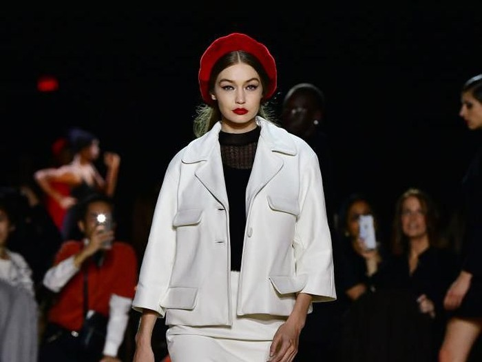HOLLYWOOD, CALIFORNIA - FEBRUARY 07: Gigi Hadid walks the runway at the Tom Ford AW20 Show at Milk Studios on February 07, 2020 in Hollywood, California. (Photo by Frazer Harrison/Getty Images)