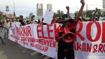 Aliansi Jukir Makassar Aksi Tolak Penerapan Parkir Elektronik