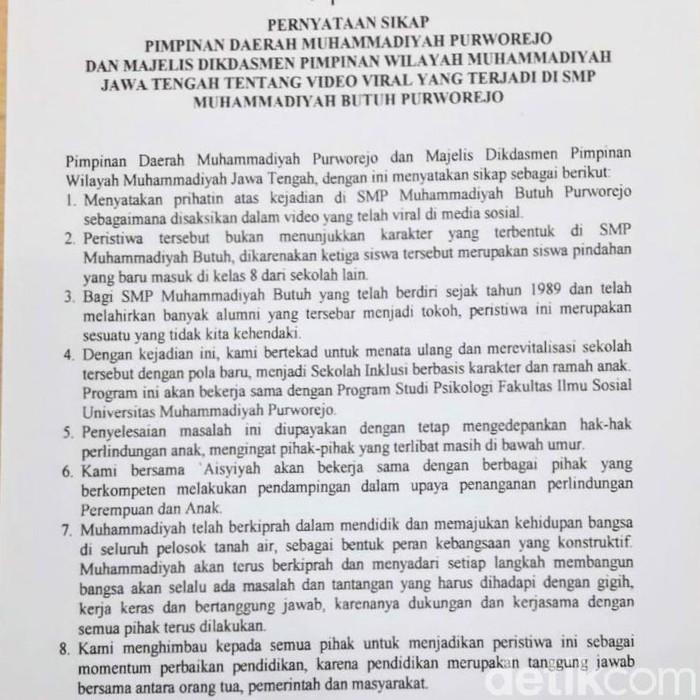 Pernyataan sikap Muhammadiyah terkait penyiksaan siswi SMP Purworejo