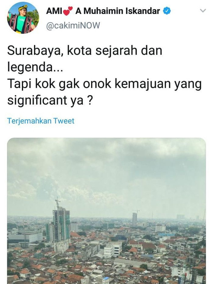 Wakil Ketua DPR Muhaimin Iskandar menyebut Surabaya sebagai kota sejarah dan legenda. Namun menurutnya kemajuan Kota Pahlawan itu tidak signifikan.