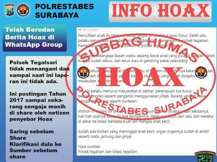 Dalam beberapa hari terakhir muncul kabar penculikan anak di media sosial yang meresahkan warga Surabaya. Namun pihak kepolisian memastikan itu hoaks.