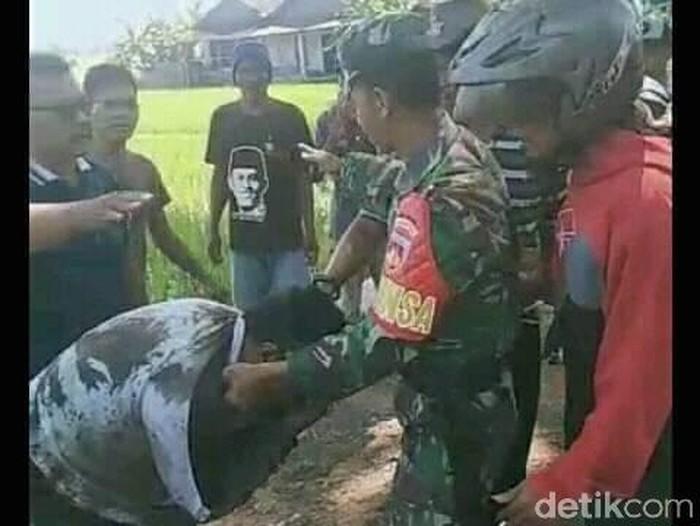Tangkapan layar penangkapan begal payudara di Klaten dari medsos