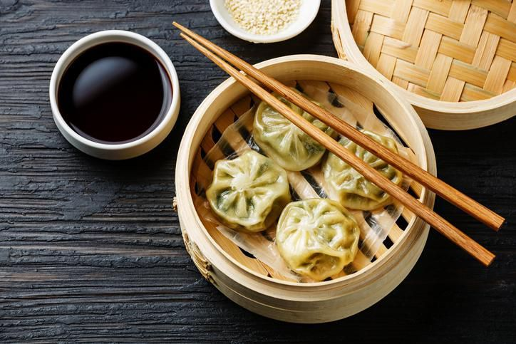 Chinese brunch - dim sum - shanghai pork dumplings and prawn dumplings with vinegar and ginger sauce.
