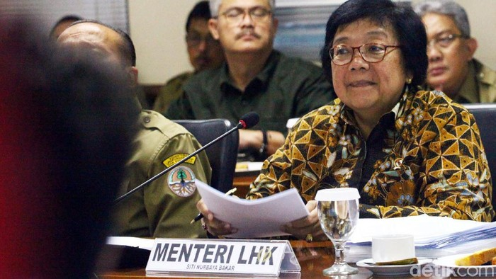 Menteri Lingkungan Hidup dan Kehutanan (LHK) Siti Nurbaya (kanan) bersama Sekjen Kemen LHK Bambang Hendroyono (kiri) mengikuti Rapat Kerja dengan Komite II DPD RI di Gedung DPD Kompleks Parlemen Senayan, Jakarta, Senin (17/2/2020). Rapat dengan DPD tersebut membahas program kerja Kementerian Lingkungan Hidup dan Kehutanan Tahun 2020.
