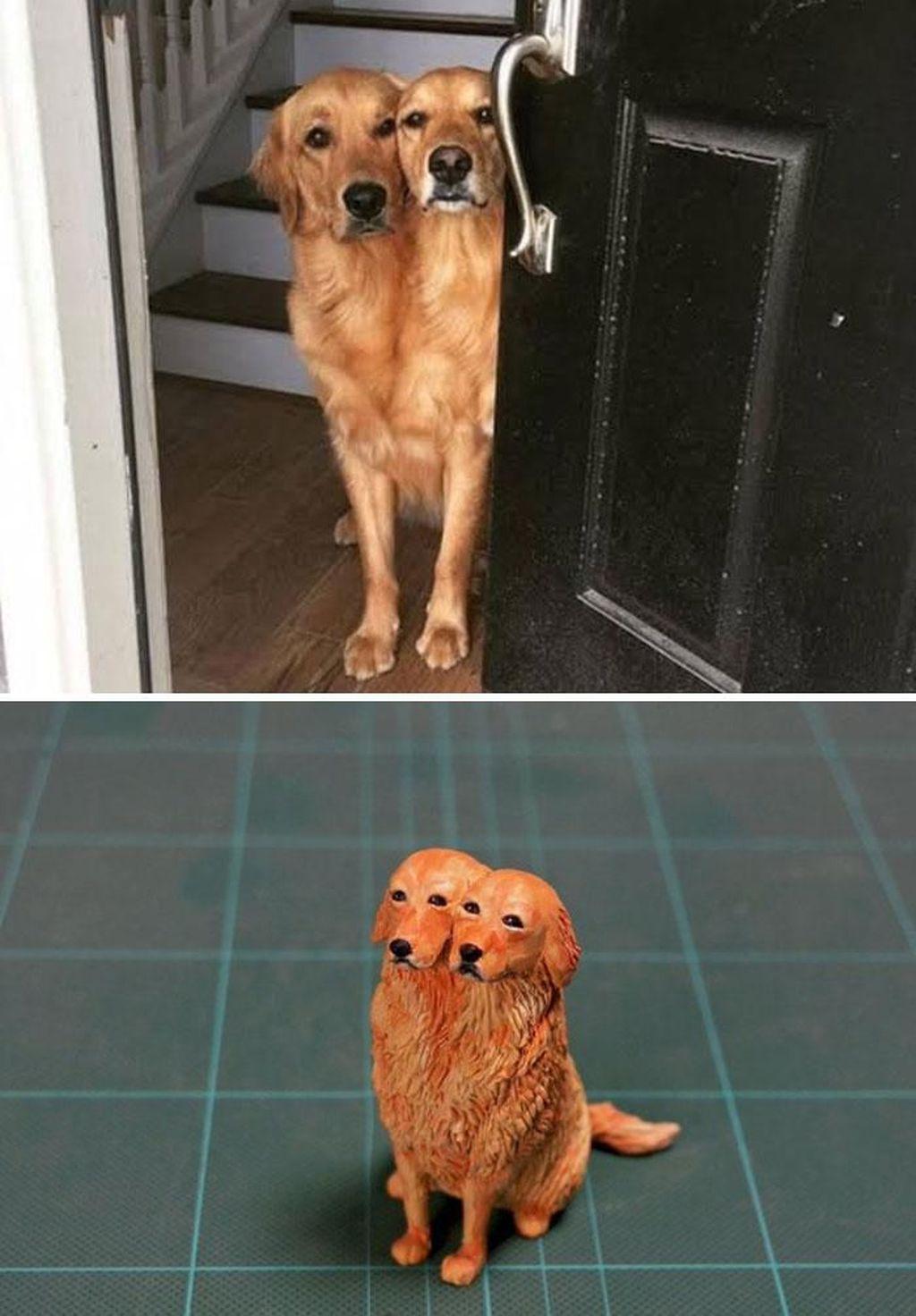 tingkah hewan kocak diubah jadi patung 3d