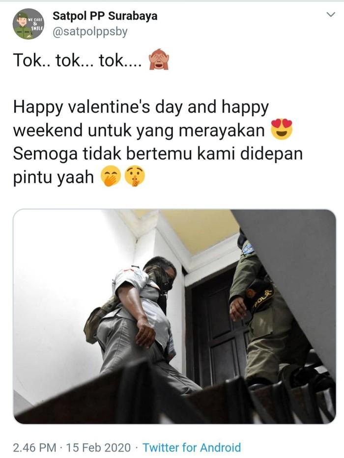 Posting-an Satpol PP di Twitter soal razia Hari Valentine menuai banyak komentar. Banyak warganet yang menyebut Satpol PP hanya berani melakukan razia di hotel kelas melati.