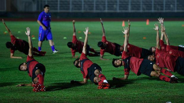 Ilustrasi latihan Timnas Indonesia. (