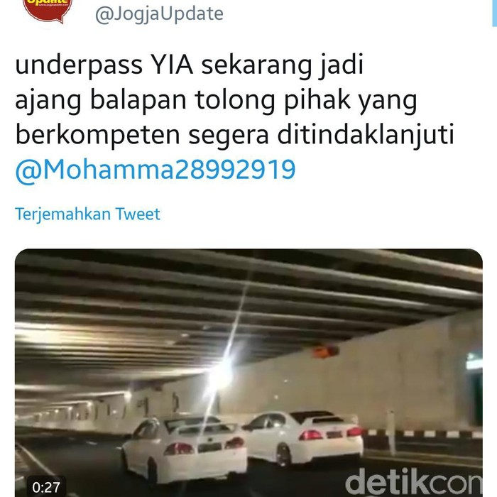 Video viral balapan liar di underpass YIA