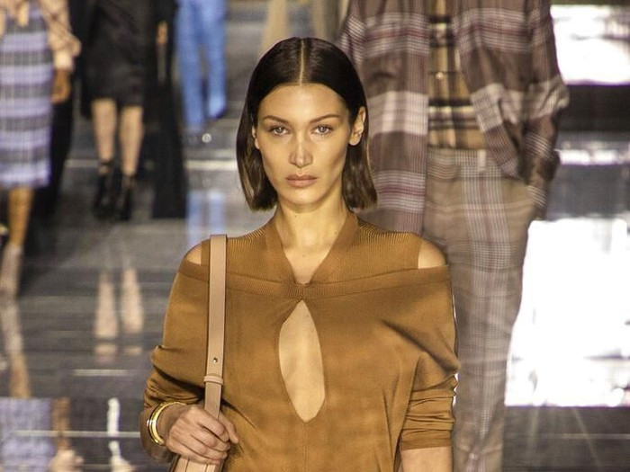 Model Bella Hadid wears a creation by designer Burberry at the Autumn/Winter 2020 fashion week runway show in London, Monday, Feb. 17, 2020. (Photo by Vianney Le Caer/Invision/AP)
