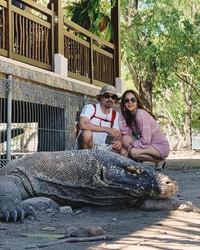 Mereka juga menyempatkan diri berkunjung ke Pulau Komodo untuk melihat naga reptil raksasa tersebut. (Foto: Instagram @ashrafsinclair)