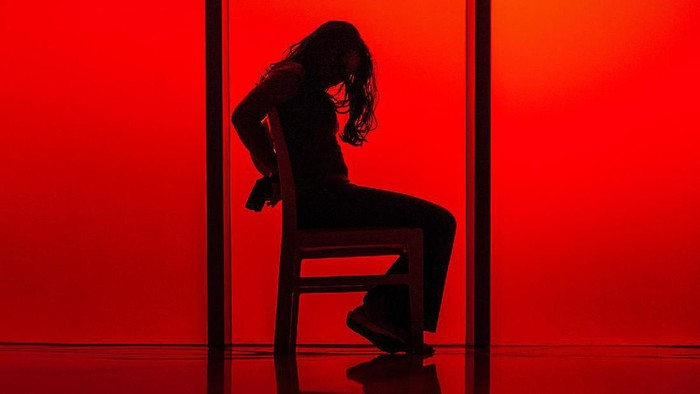 silhouette of a woman tied up to a chair against a red background