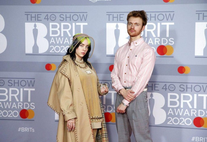 Billie Eilish and Finneas OConnell pose for photographers upon arrival at Brit Awards 2020 in London, Tuesday, Feb. 18, 2020.(Photo by Vianney Le Caer/Invision/AP)