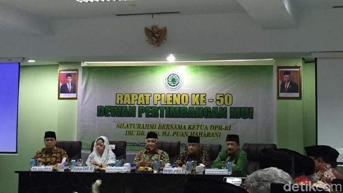 Ketua DPR Puan Maharani di Rapat Pleno Dewan Pertimbangan MUI. (Foto: Tiara Aliya Azzahra/detikcom)