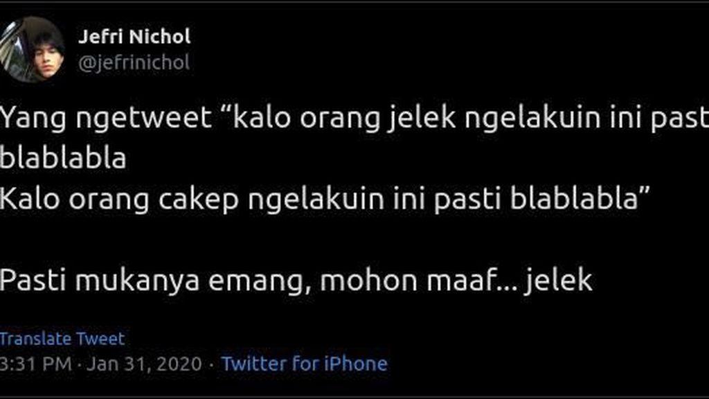 Orang Jelek dan Cakep #BisaApaSih? Jefri Nichol Bikin Riuh di Twitter