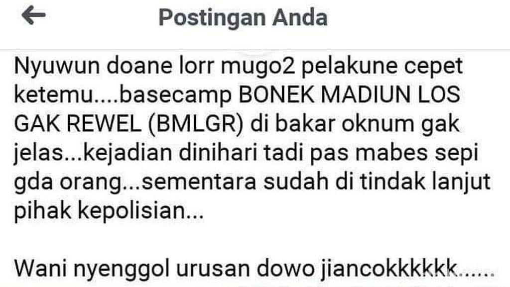 Polisi Selidiki Dugaan Pembakaran Basecamp Bonek di Kota Madiun yang Viral