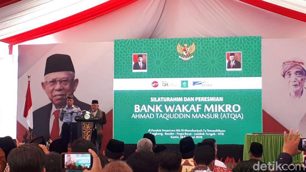Resmikan Bank Wakaf Mikro, Maruf Harap Ponpes Tak Hanya Lahirkan Kiai