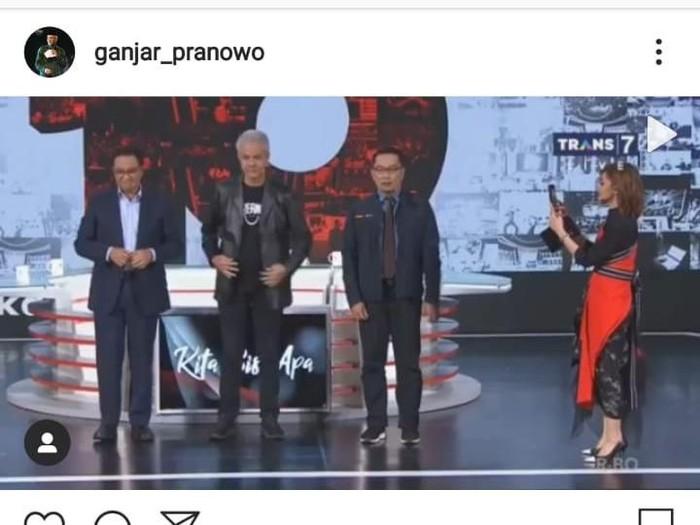 Tangkapan layar media sosial Ganjar Pranowo main Any Song Challenge, Rabu (19/2/2020).