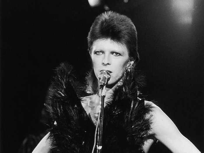 20th October 1973:  David Bowie performing in his Angel of Death costume at a live recording for a Midnight Special TV show made at The Marquee Club in London to a specially invited audience of Bowie fanclub members.  (Photo by Jack Kay/Express/Getty Images)