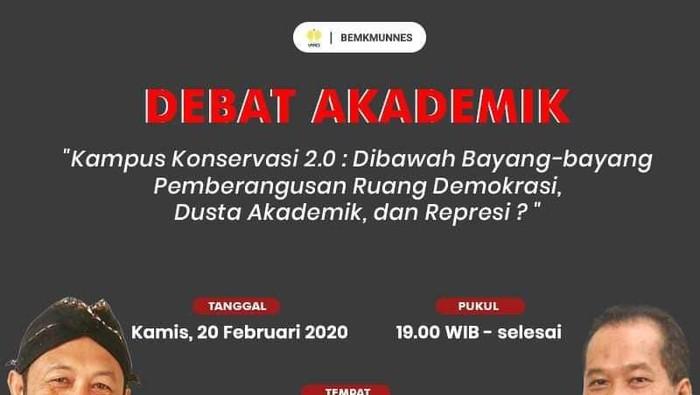 Muncul Poster Debat Dosen Diskors Hina Jokowi Vs Rektor Unnes Malam Ini