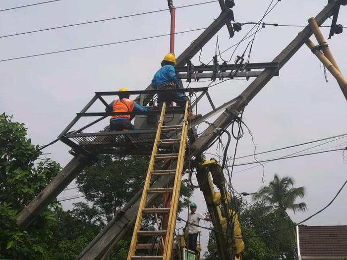 Petugas PLN memperbaiki tiang listrik yang rusak tertimpa pohon