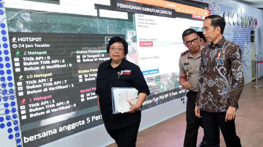 Jokowi Tinjau Penanganan Karhutla Riau Lewat Pantauan 4 Satelit