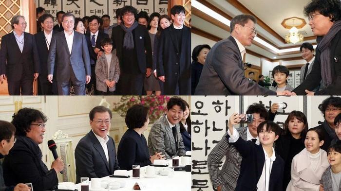pemeran dan sutradara film parasite dijamu oleh presiden korea selatan moon jae in