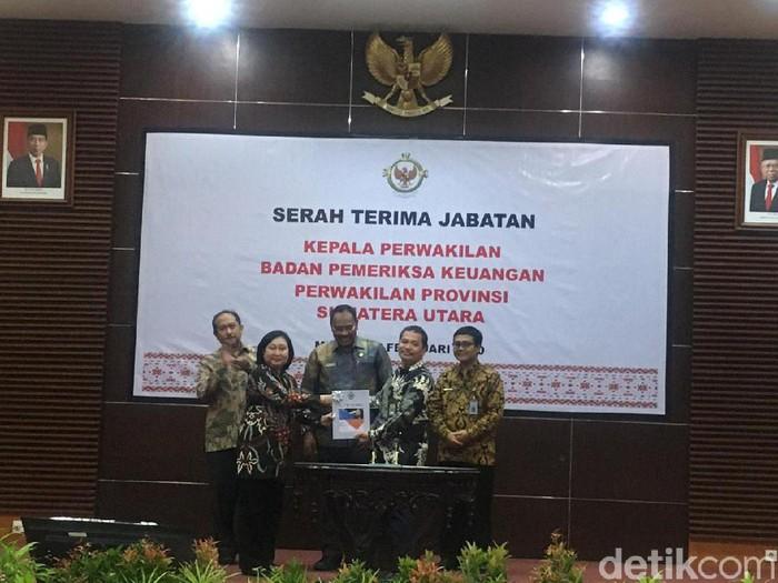 BPK perwakilan Sumut resmi dipimpin kepala baru, Eydu Oktain Panjaitan (Ahmad Arfah Lubis/detikcom)