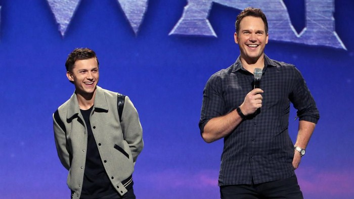 ANAHEIM, CALIFORNIA - AUGUST 24: (L-R) Tom Holland and Chris Pratt of Onward took part today in the Walt Disney Studios presentation at Disney's D23 EXPO 2019 in Anaheim, Calif.  Onward will be released in U.S. theaters on March 6, 2020. (Photo by Jesse Grant/Getty Images for Disney)