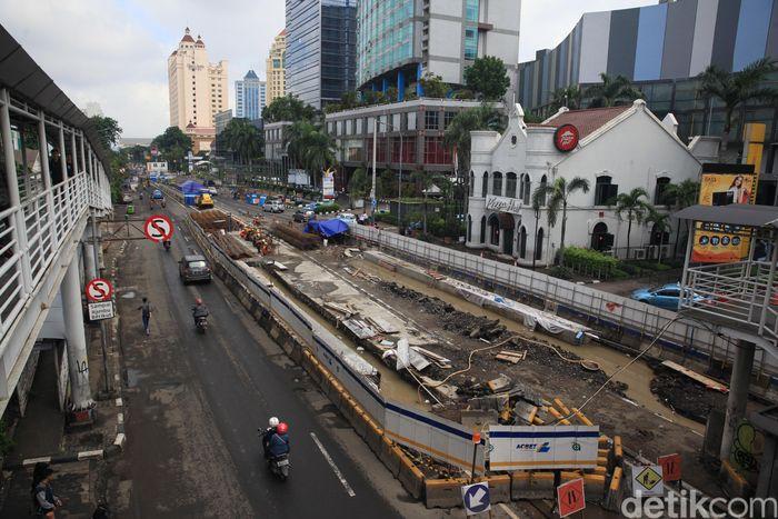 Begini penampakan terkini proyek Underpass Senen Extension di kawasan Atrium Senen, Jakarta Pusat, Sabtu (22/2/2020).