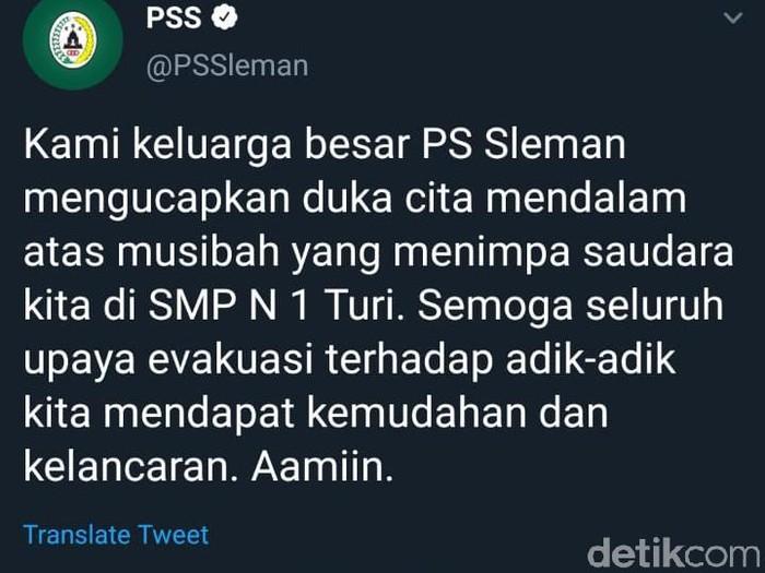 Tangkapan layar Twitter PSS berduka cita terkait musibah SMPN 1 Turi, Sleman (22/2/2020).