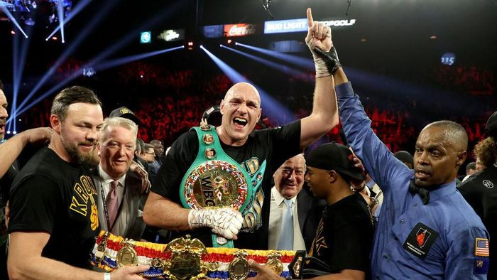 LAS VEGAS, NEVADA - FEBRUARY 22:  Tyson Fury celebrates his win by TKO in the seventh round against Deontay Wilder in the Heavyweight bout for Wilders WBC and Furys lineal heavyweight title on February 22, 2020 at MGM Grand Garden Arena in Las Vegas, Nevada. (Photo by Al Bello/Getty Images)