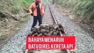 Viral Tumpukan Batu Besar Diduga Sabotase di Tengah Rel Lumajang