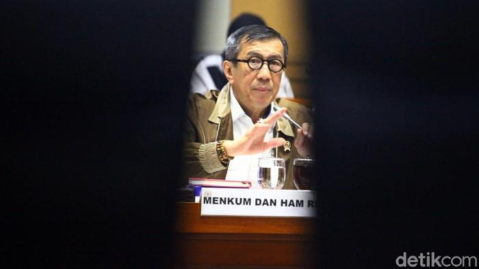 Rapat kerja membahas RUU KUHP bersama Komisi III DPR di Kompleks Parlemen, Senayan, Jakarta, Senin (24/2/2020).