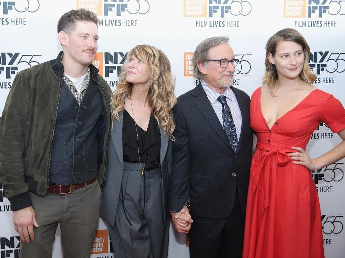 NEW YORK, NY - OCTOBER 05:  (L-R) Sawyer Avery Spielberg, Kate Capshaw, Steven Spielberg and Destry Allyn Spielberg attend 55th New York Film Festival screening of