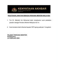 Breaking News! Mahathir Mundur dari Jabatan PM Malaysia
