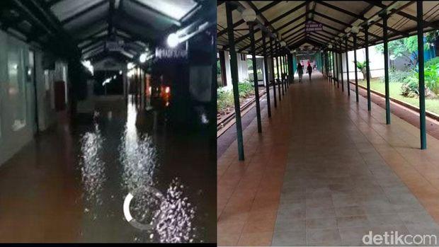 Sisa-sisa genangan banjir di RS Husada.