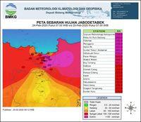 Ini Peta Sebaran Hujan di Jabodetabek Dalam 24 Jam Terakhir