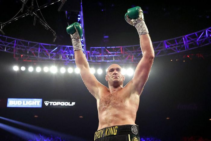 LAS VEGAS, NEVADA - FEBRUARY 22:  Tyson Fury celebrates after knocking down Deontay Wilder during their Heavyweight bout for Wilders WBC and Furys lineal heavyweight title on February 22, 2020 at MGM Grand Garden Arena in Las Vegas, Nevada. (Photo by Al Bello/Getty Images)