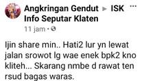 Heboh Foto Pria Paruh Baya Terluka Bacok Jadi Korban Klitih di Klaten