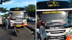 Viral, Pria Parkir Motor di Tengah Jalan Adang Bus Lawan Arah