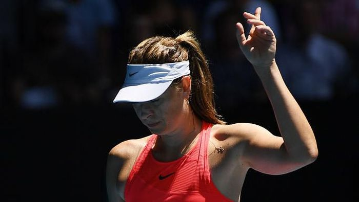 MELBOURNE, AUSTRALIA - JANUARY 21:  Maria Sharapova of Russia challenges a line call during her Womens Singles first round match against Donna Vekic of Croatia on day two of the 2020 Australian Open at Melbourne Park on January 21, 2020 in Melbourne, Australia. (Photo by Hannah Peters/Getty Images)