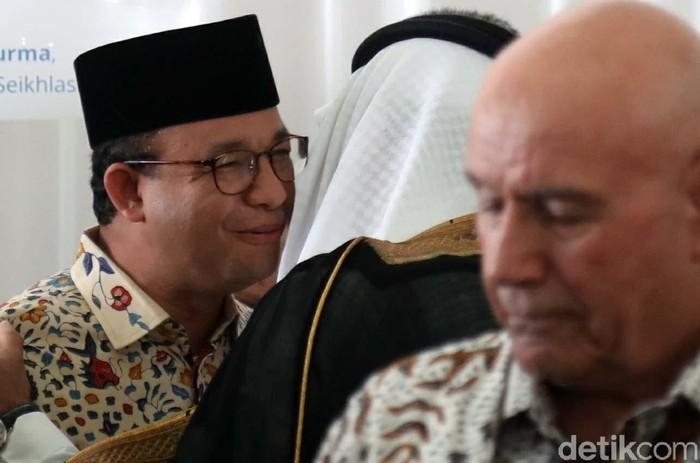 Gubernur DKI Jakarta Anies Baswedan hadiri peletakan batu pertama pembangunan Museum Internasional Sejarah Nabi Muhammad SAW di Ancol Jakarta, Rabu (26/2).