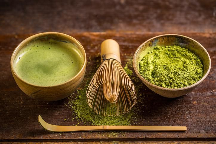 Matcha tea and green tea utensils