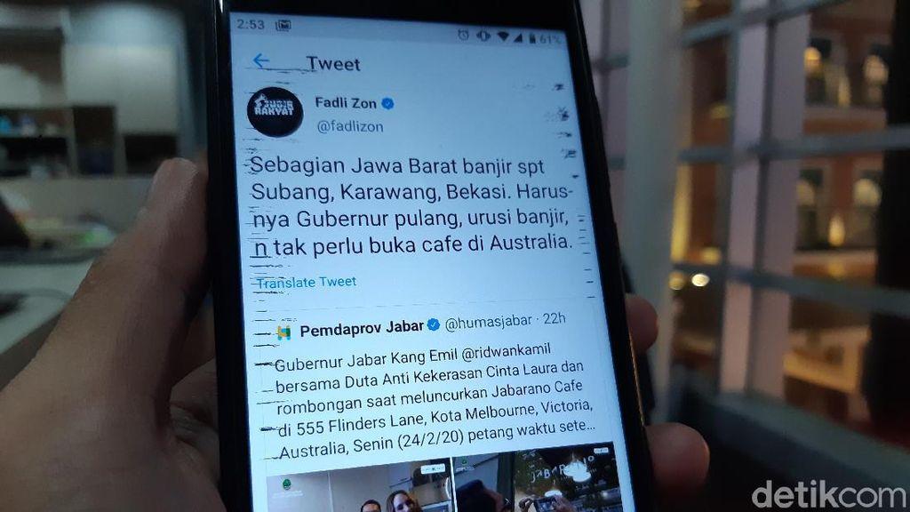 Fadli Zon ke Ridwan Kamil: Urusi Banjir, Tak Perlu Buka Kafe di Australia