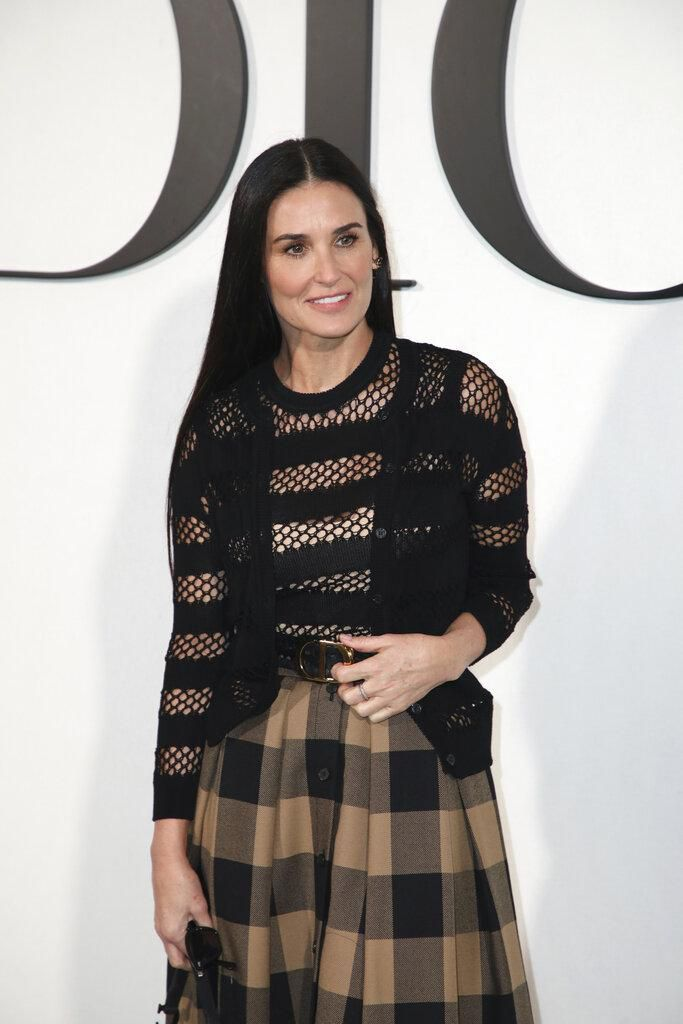 CORRECTS IDENTIFICATION Actress Demi Moore arrives for the Dior fashion collection during Women's fashion week Fall/Winter 2020/21 presented in Paris, Tuesday, Feb. 25, 2020. (Photo by Vianney Le Caer/Invision/AP)