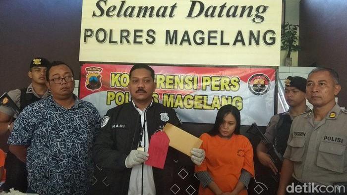 Y, ibu hamil tersangka penipuan sembako senilai Rp 89 juta di Magelang, Kamis (27/2/2020).