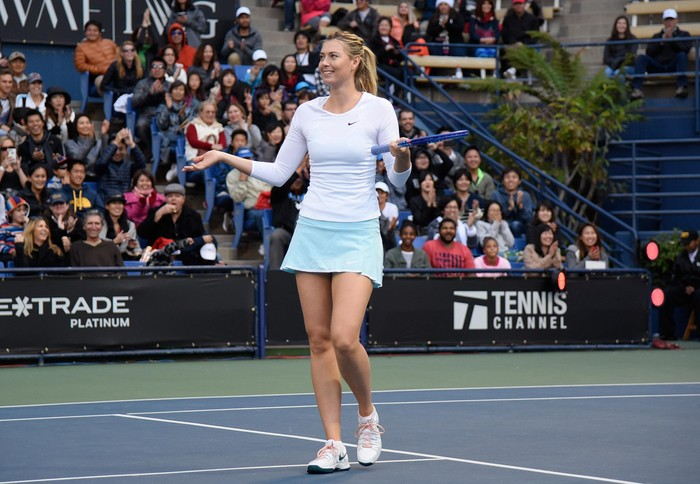 LOS ANGELES, CA - DECEMBER 13:  Maria Sharapova attends the Maria Sharapova and Friends tennis event presented by Porsche on December 13, 2015 in Los Angeles, California.  (Photo by Angela Weiss/Getty Images for Porsche)