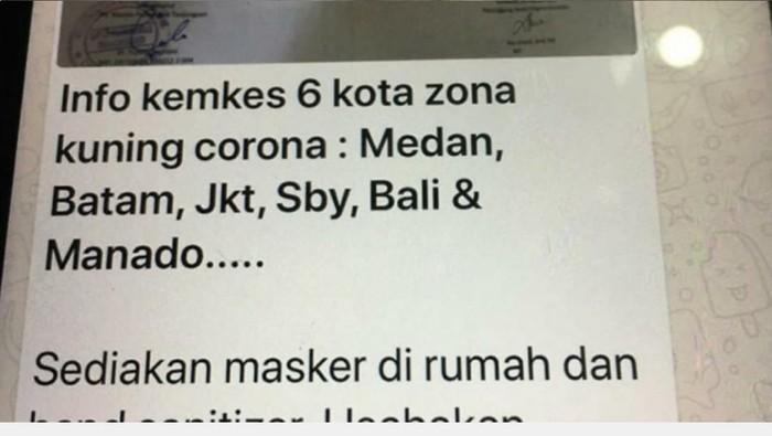 Viral info Medan masuk zona penyebaran corona