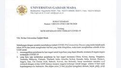 UGM Juga Minta Sivitas dari Negara Terdampak Corona Batasi Interaksi